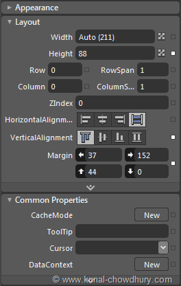 How to Categorize Control Properties for XAML View inside