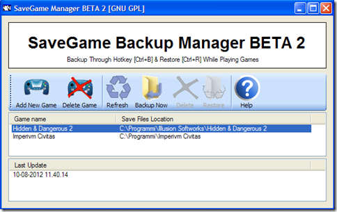 SaveGame Backup Manager