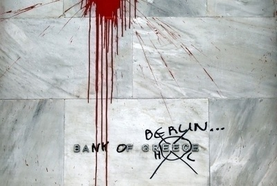 graffiti over Bank of Greece sign, now Bank of Berlin