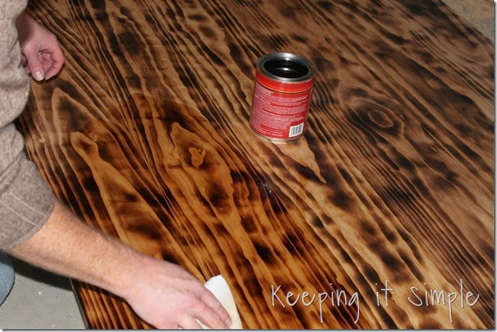 diy dining table with burned wood finish using a bernzomatic blow