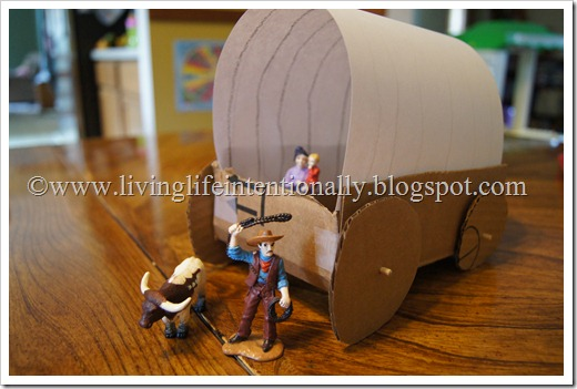 DIY Covered Wagon project for kids - homeschool history westward expansion unit