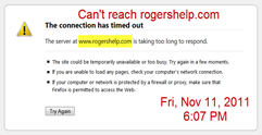 Can't reach rogershelp.com