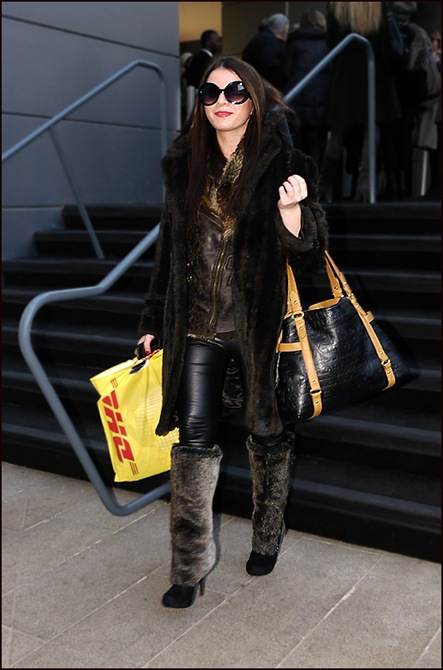 w fur coat leather and fur vest black leggings fur leg warmers big sunglasses ol