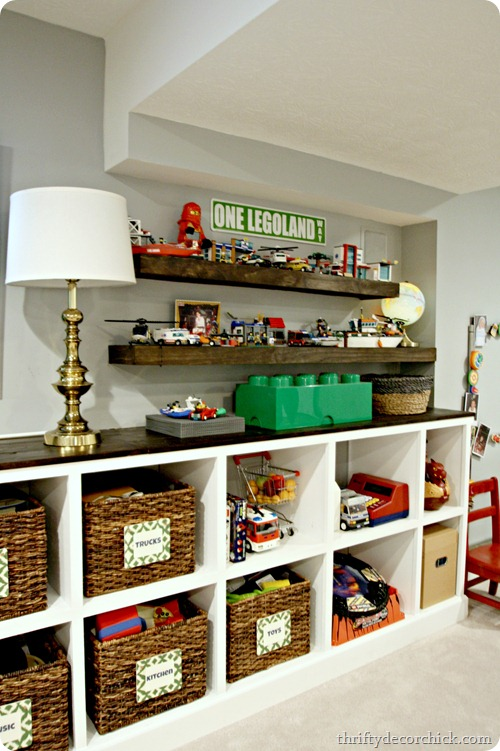 DIY floating shelves as Lego storage