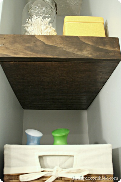 dark wood floating shelves