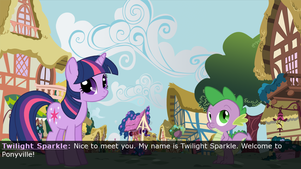 Twilight Sparkle and Spike welcoming you to Ponyville.