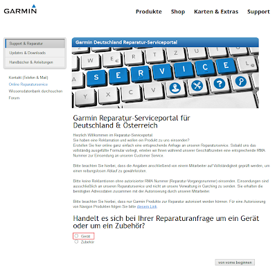Garmin Support - Webseite 2