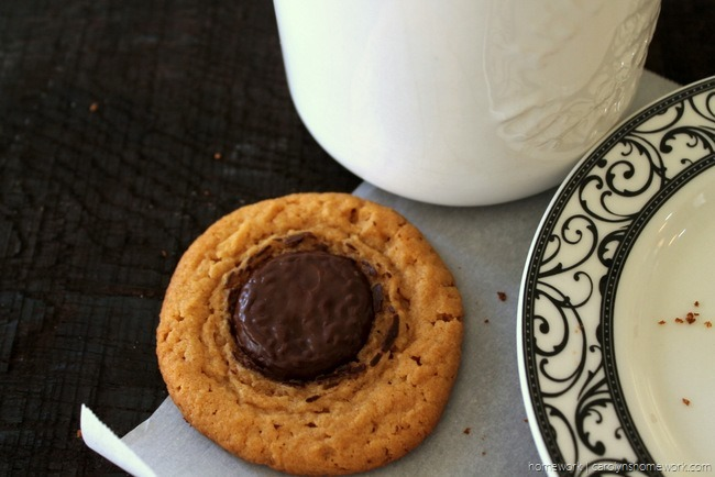 Peanut Butter Chocolate Button cookies via homework (1)