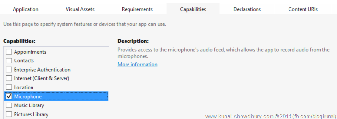 How to enable the Microphone capability in your WP8.1 app