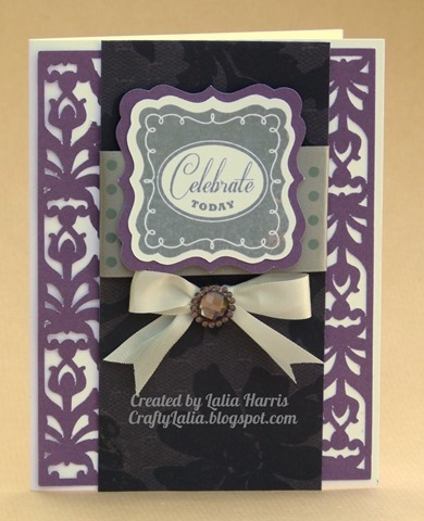 Elegant damask card in black and purple using Artbooking Cartridge and Cricut Craft Room by Lalia Harris