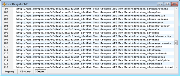 List of Groupon /deals queries generated by Altova MapForce