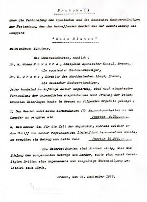Protokoll del Gobierno Imperial alemán en el que se describe y cuantifica la indemnización al vapor español. Archivo del Ministerio de Asuntos Exteriores