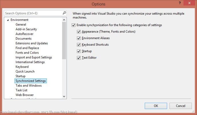 Synchronized Settings in Visual Studio 2013