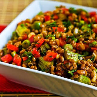Farro Salad with Asparagus, Red Bell Pepper, and Sun-Dried Tomato Vinaigrette.