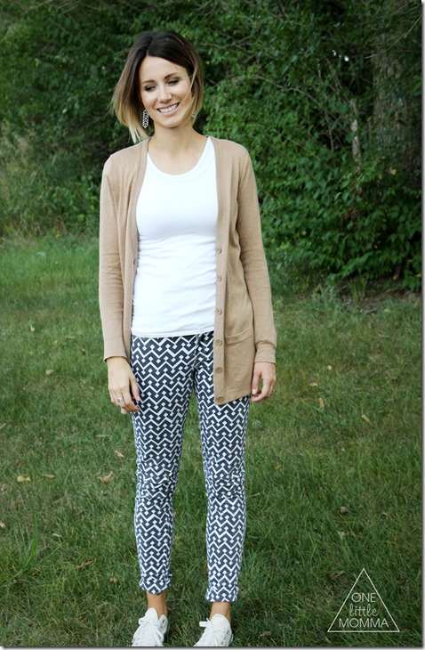 Ease into Fall with printed pants, a boyfriend cardi and converse