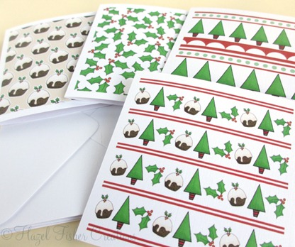 Merry Christmas set of 4 small square note cards 2