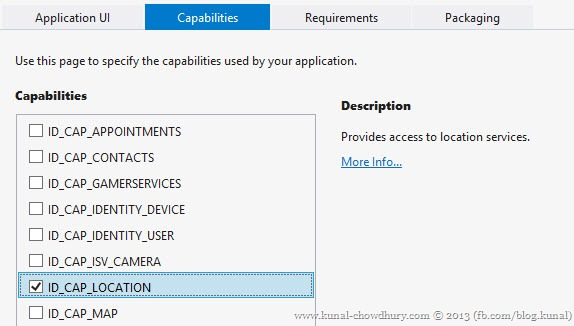 Windows Phone 8 Capabilities for Geo Location API