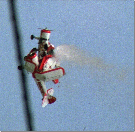 Two biplanes collide in midair during an airshow in Kissimmee, Fla., Sunday April 19, 1998. The pilots, James Lovelace and Randall Drake of the Red Baron Flying Group, died in the crash.(AP Photo/Sean Kelly)