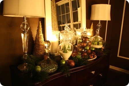 green and brown christmas vignette