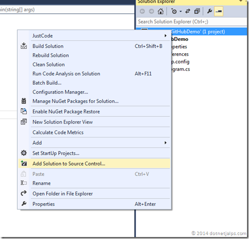 Add project to git source control visual studio 2013