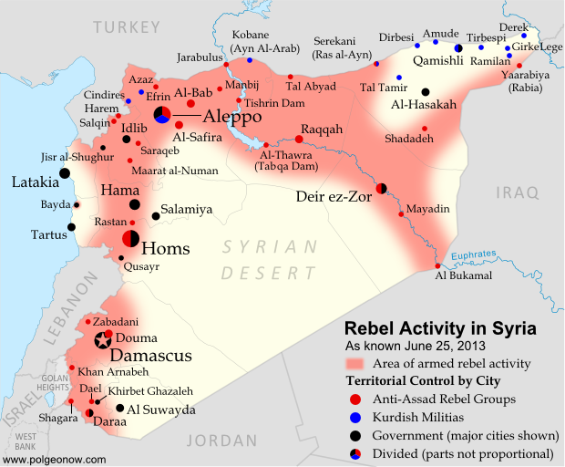 Map of rebel activity and control in Syria's Civil War (Free Syrian Army, Kurdish groups, Al-Nusra Front and others), updated for June 2013. Includes recent locations of conflict and violence, including the Qusayr, Golan Heights, Daraa, Dael, and Baida.