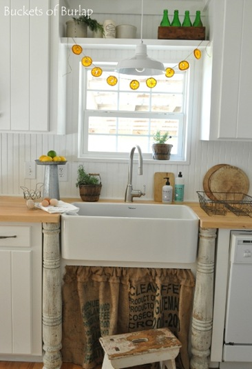 orange garland-sink window