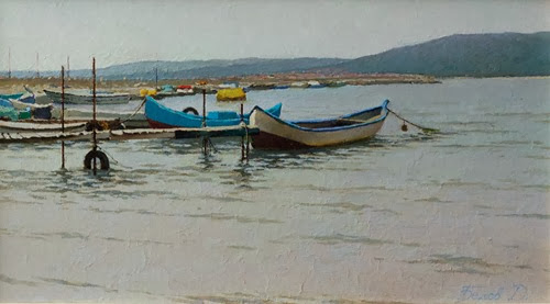 Byala oil painting landscape with boats artist Daniil Belov