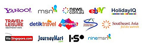 WEGO.COM Ebay, Yahoo!, ViaSingapore.com, YourSingapore, MSN, Detik Travel, new.com.au, ninemsn Australia, Travel & Leisure, Journey Mart, Holiday IQ, South East Asia, IS,