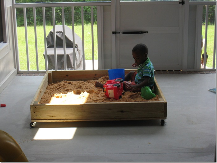 Zion's Homemade sandbox on wheels- a diy