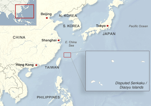 Map of the location of the disputed Senkaku/Diaoyu Islands within Asia