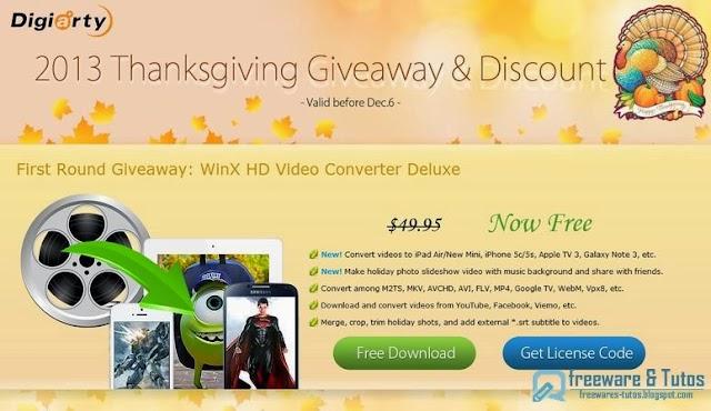 Offre promotionnelle : WinX HD Video Converter Deluxe à nouveau gratuit !