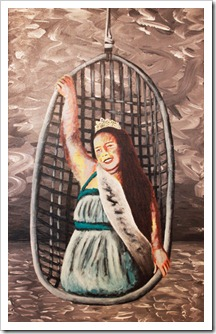 woman cage painting