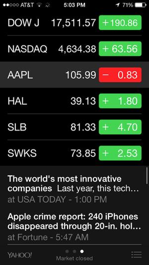 Stocks app, vertically