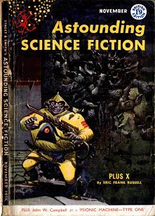 Cover by Freas of the British edition of Astounding Science Fiction magazine, November 1956. Cover illustrates the story Plus X by Eric Frank Russell.