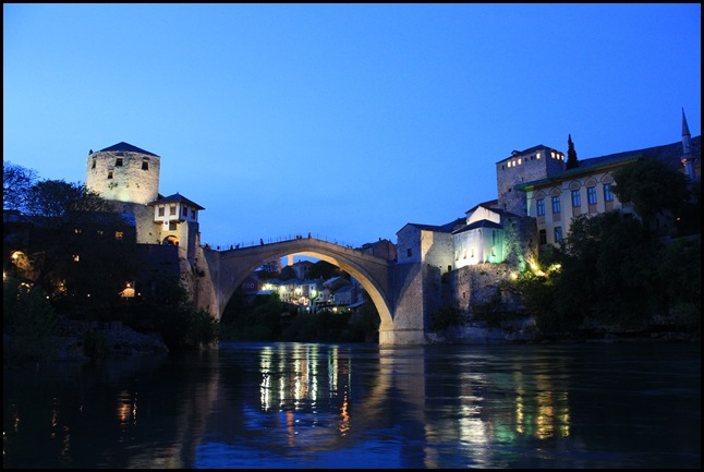 Stari Most at night, Mostar Bosnia and Herzegovina