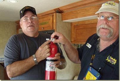 Mac the Fireguy points out that one of our fire extinguishers is extinguished