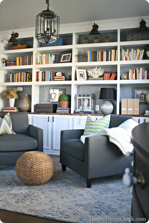 Living Room Library Design Ideas: Dining Room Turned Library, Finally! From Thrifty Decor Chick