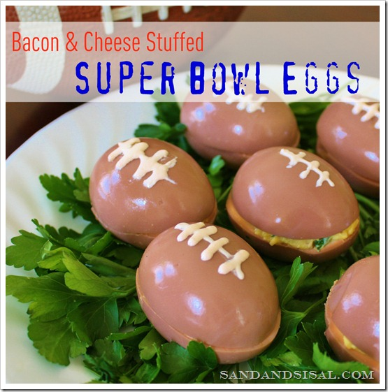 Super Bowl Eggs - Bacon & Cheese Stuffed