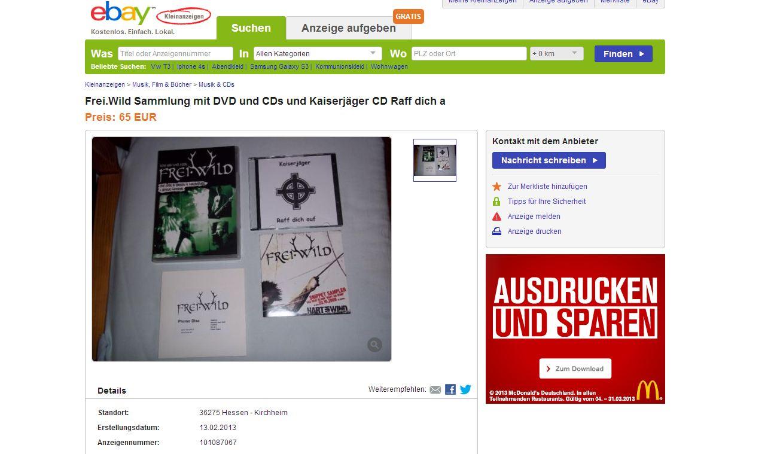 Kaiserjäger- und Frei.Wild-CDs auf ebay