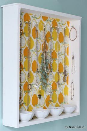 drawer repurposed into jewelry organizer