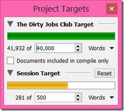 Scrivener – Project Targets & Name Generator ~ I Write for