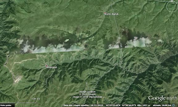 Carte : Khasaut au sud-ouest de Kislovodsk