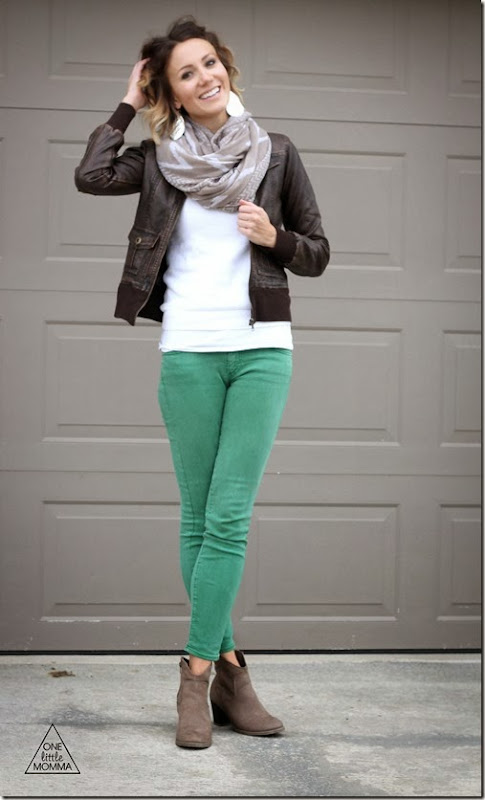 Leather jacket paired with bright denim, a scarf and ankle boots