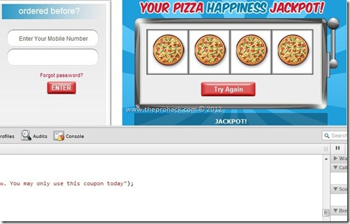 Jackpot - theprohack.com - hacking Dominos Coupon Generator