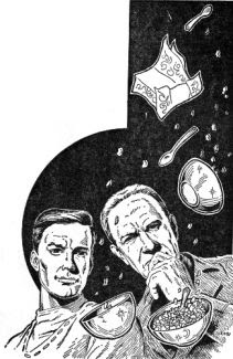Illustration accompanying the original publication in Fantastic Stories of Imagination magazine of short story Double or Nothing by Jack Sharkey. Image shows the two bewildered inventors bombarded with breakfast items their invention has unexpectedly produced.