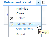 Search Results Page - Refinement Panel - Edit Web Part