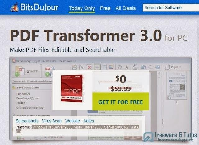 Offre promotionnelle : ABBYY PDF Transformer 3.0 gratuit !