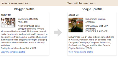 google plus profile for blogger
