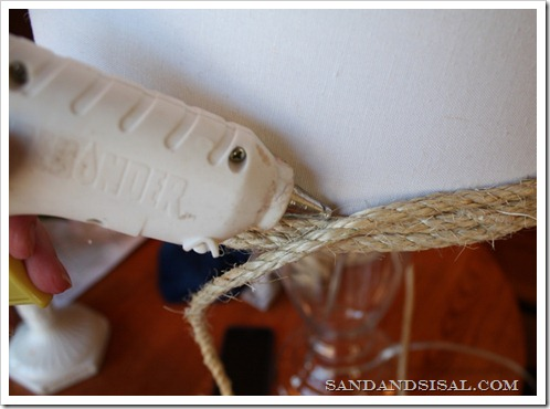 gluing the sisal shade