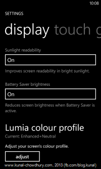 Enhanced display settings with Lumia colour profile